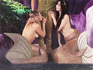 torrid mermaid threesome with Aiden Ashley and Mia Malkova