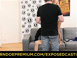 unveiled audition super-hot minx with glasses smashed rigid