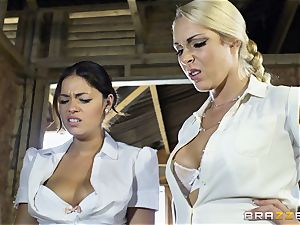 insane lesbians Ava Dalush and Victoria Summer tear up the constant stud
