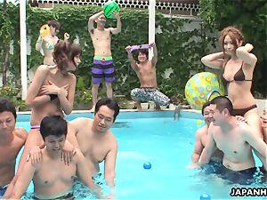 asian bikini cocksluts frolicking by the pool