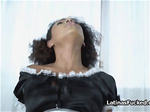 Exotic maid switches humungous fake penis for massive jizz-shotgun