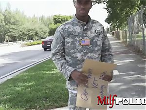 False soldier makes his cock firm for milf cops to gargle and rail it
