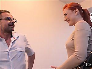 exposed audition - redhead Eva Berger splattering casting