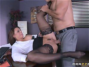 Eva Angelina gets her bosses ginormous pecker across her desk