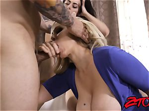 Julia Ann and Whitney milky handle hard-on