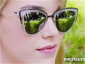 Private.com - towheaded nubile Anny Aurora penetrates outdoor