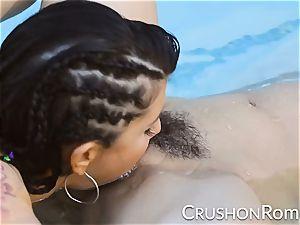 punch women - Romi Rain and Reena Sky drill in the pool