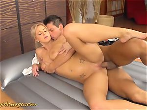 big-titted nubile gives slimy rubdown