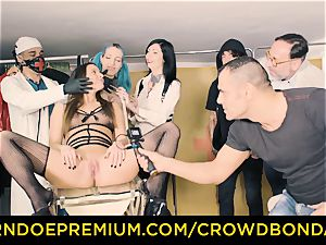 CROWD restrain bondage subjugated Amirah Adara first time bdsm