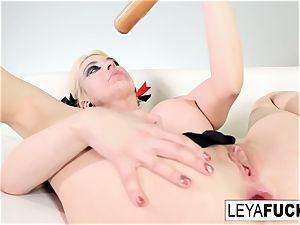 mind-blowing Leya Falcon strips at a gold decorated unwrap club