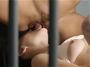 muff tonguing in jail with Ryan Keely and Jayde Symz