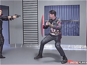 Captain America sinks ebony Widow in his superhero cum