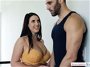 Lusty big-boobed Australian Angela milky cummed Over After xxx fuck