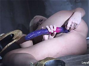 Leya Falcon slams sex toys in both her fuck-holes