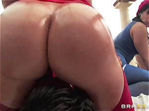 assfuck bang-out with trio crazy yam-sized butt beotches Krissy Lynn, Nikki Delano and Rose Monroe