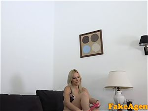 fake Agent Pretty light-haired in a crimson sundress gives a fellatio
