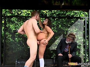 funny situation of snatch plunged daughter-in-law and her grandpa witnesses at bus stop - Abella Danger and Bill Bailey