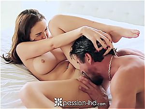 Passion-HD - Dillion Harper fingers her bald pussy