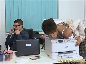 Dane Jones stunning teenager dark-hued office chick