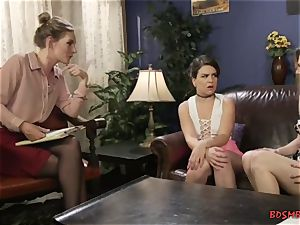 trio steaming nymphs boink hard with string on dildo