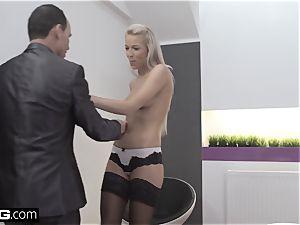 Glamkore uber-sexy euro babe Karol Striptease for her lover