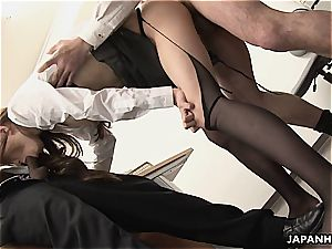 asian cockslut gets poked in the office