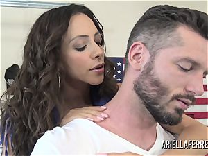 Ariella Ferrera pays the bills with her steaming nail fuck hole