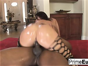 humungous melon brown-haired Sophie Dee has multiracial joy
