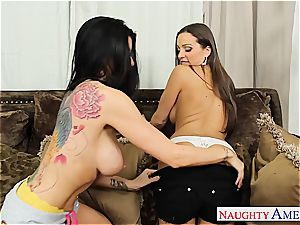 lesbians Abagail Mac and Romi Rain love cock-squeezing cooter