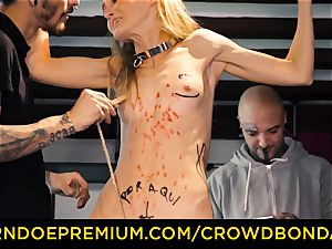 CROWD restrain bondage petite slave nympho fetish gang fucky-fucky