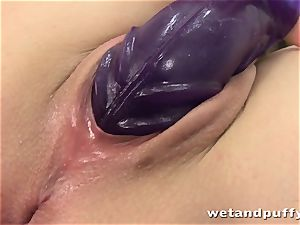 Closeup butt-plug and faux-cock play with Czech Sindy Vega