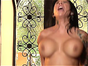 tatted breezy takes some strong jamming on her taut vulva