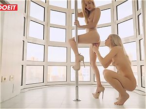 girly-girl couple enjoys Afternoon scorching fuck-fest on the Balcony