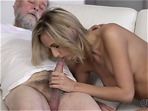 OLD4K. ultra-cutie takes part in sultry hump with beautiful older parent