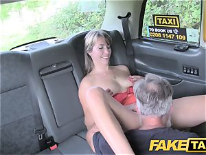 faux taxi nymph in brief sundress gets a taxi creampie