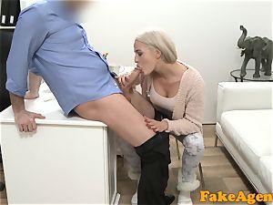 fake Agent hot towheaded model luvs fuck-stick over the desk