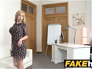 fake Agent super-hot blondie phat baps Russian gets a facial