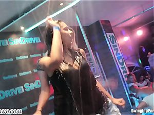 Fornication on the porno soiree in nightclub