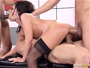 Adriana Chechik pummels three schlongs at once