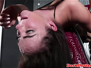 Throatfucked marionette gasping on man-meat nut sack deep