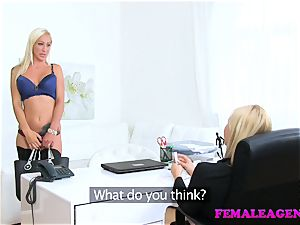 FemaleAgent busty platinum-blonde honey eats gorgeous agent for cash