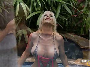 Puma Swede steaming stunner smoking while in the pool