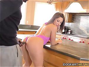 Abella Danger takes ebony bone in the kitchen