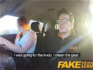 faux Driving school sumptuous red-haired lusts after big jizz-shotgun