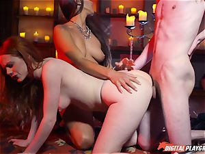 jism guzzling threeway with uber-sexy Ella Hughes and beautiful babe Mea Melone