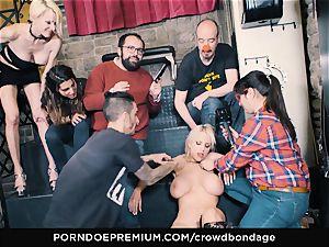 CROWD bondage - subjugated blond Fesser harsh bondage & discipline fucky-fucky