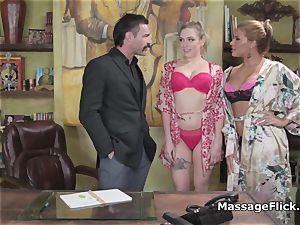 yam-sized jug massagists treating porn mustache s pecker