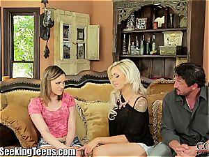super-hot duo seduces a slutty teen to do 3 way