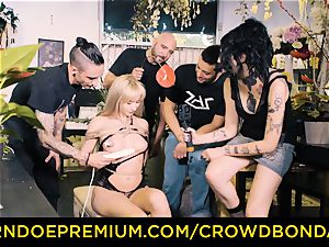 CROWD bondage - bbc and domination & submission torment for Aruna Aghora