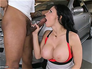 wondrous Aletta Ocean plays with a dark-hued rod in her greasy red-hot mouth